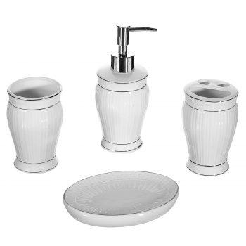 Set-suport-ceramica-baie-alb-4-bucati
