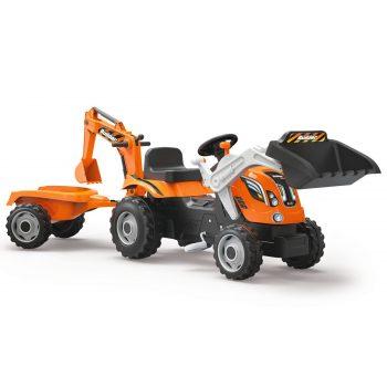 masinuta-vehicul-copii-excavator-portocaliu-cu-pedale-remorca