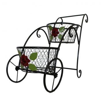 suport-decorativ-metalic-ghivece-carucior-flori